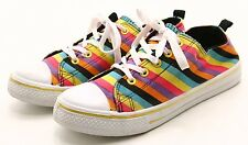 RUE 21 KICKS Sneakers Shoes Womens size 6 7 Canvas STRIPES Lace up tennis skater