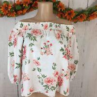 Zara's Women's SZ Small Floral Off the shoulder Top Blouse Crochet Trims Spring