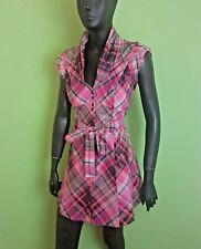 Ted Baker Shirt Dress Size 1 UK 8 Purple Pink Check Fit Flare Cotton Mini