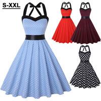 Vintage Women Pinup Swing Evening Party Sleeveless Rockabilly Prom Retro Dress