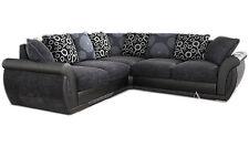 Large Pioneer Corner Sofa Grey Black Leather & Charcoal Chenille Fabric