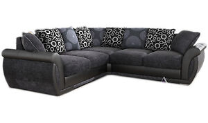 NEW LARGE SHANNON PIONEER CORNER SOFA GREY BLACK LEATHER & CHARCOAL