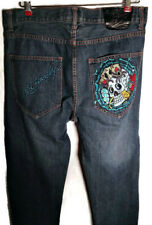 Ed Hardy men's Jeans 34 x 34 -  Trashed-Style - Skull and Aces Embroidery