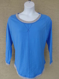 NEW Just  My Size 1X  L/S scoop neck Twofer Tee Top blue/gray