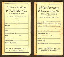 MILLER FURNITURE & UNDERTAKING Charleston IL Lot of 2 Payment Booklets 1940 1941