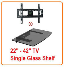 Low Profile LCD LED TV Tilt Wall Mount 22-42 with Single Glass shelf DVD 952T43
