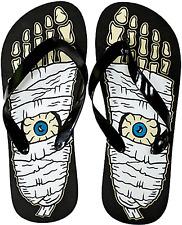 85510 Black White Womens Mummy Feet Flip Flops Sourpuss US 8 EUR 5.5 Horror