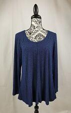 Jones New York women's long sleeve stretch knit top striped print size large b19