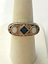 925 STERLING SILVER MOTHER OF PEARL & BLACK AGATE RING SIZE 6.5