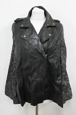 MUUBAA Ladies Black Leather Knitted Floral V Neck Zip Poncho Jacket UK10