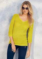 Mustard Yellow Textured V Neck Knitted Top Size 16 NEW