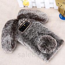 Long ears Fluffy rabbit Soft TPU Bling Cryatal Camera circle Phone Case Cover