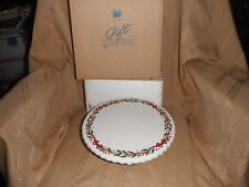 avon festive holiday dessert plate with pedestal 9 inch new in box
