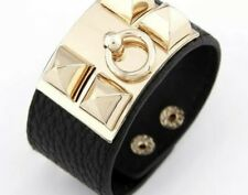 With Gold Hardware Black Leather Bracelet