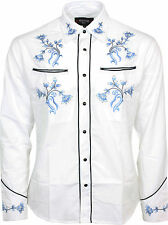 Relco White Blue Cowboy Western Line Dancing Flower Embroidered Shirt NEW