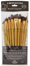 Royal Langnickel Paint Brushes LONG HANDLE Soft Brown Taklon 12 pc Painting 9304