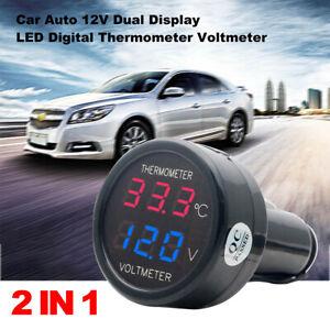 Auto LED Zigarettenanzünder Spannungsanzeige Voltmeter Thermometer DC 12V-24V