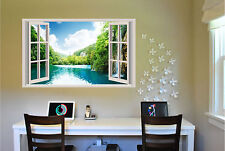 Lake & waterfalls Window View Repositionable Color Wall Sticker Wall Mural 3 FT
