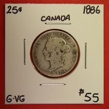 1886 25 Cent Canada Twenty Five Cents Quarter Coin BC 97 - $55 G-VG