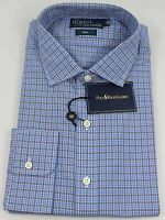 Polo Ralph Lauren Dress Shirt Mens 15 38 Blue Black Pony White Estate
