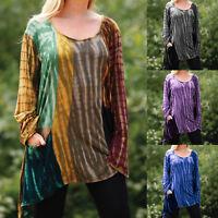Womens Summer Long Sleeve Irregular Blouse Casual Loose Swing Tunic T-shirt Tops