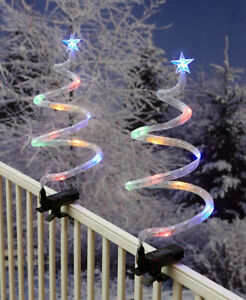 Set of 2 Spiral Christmas Trees with Clips Patio Deck Fence Porch Decorations