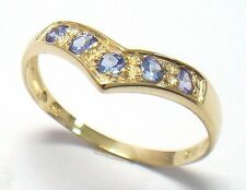 PRETTY 9KT SOLID YELLOW GOLD ROUND TANZANITE RING  SIZE 7   R1186