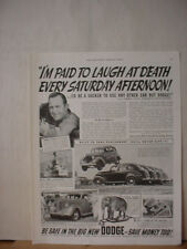 1938 Dodge Car Jimmie Lynch Stunt Driver Elephant Vintage Print Ad 087