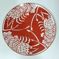 "1970s Mikasa Cathy Hardwick The Lobster Red 10"" Dinner Plate RARE! Narumi Japan"