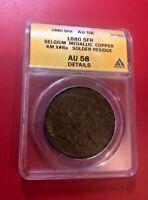 1880 5FR BELGIUM MEDALLIC COPPER KM X#8a SOLDER RESIDUE ANACS AU 58 DETAILS