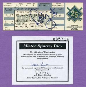 Robin Yount Milwaukee Brewers Autographed Tribute Day Complete Ticket - 5/29/94