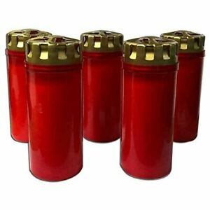 F.A.Dumont 4 Day Grave Lights Pk 5 - Red with Gold Lid (Red, 4 day)