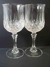 Cristal d'Arques stemmed wine glass x 2 Longchamp pattern 5.75 oz