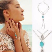 Boho Silver Multi Chain Tassel Bracelet Turquoise Slave Finger Ring Hand Harness