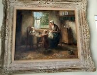 """Cornelius Wouter Bouter 1888-1966 Mother and Children """"20x24"""" Oil Framed"""