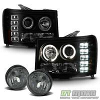2007-2013 GMC Sierra 1500 [BLACK SMOKE] LED Halo Projector Headlights+Fog Lights