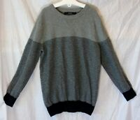 Boys George Grey Black Textured Stripe Thin Knit Crew Neck Jumper Age 7-8 Years