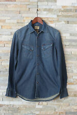 NUOVO Wrangler Camicia di jeans manica lunga slim blu S S