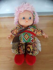 Jolie poupée chiffon vintage cheveux laine rose habillé indienne 30 cm Bestoy