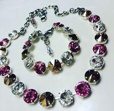 """2pc jewelry 12mm Pink, Rose Gold & Crystal """"Swarovski Elements Necklace Bracelet"""