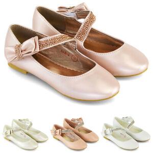 Girls Flat Shoes Bridal Party Satin Diamante Bow Strap Kids Evening Pumps