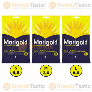 MARIGOLD KITCHEN GLOVES RUBBER YELLOW LATEX COTTON LINED SMALL MEDIUM LARGE SIZE