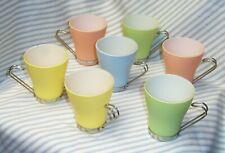 *SEVEN* VITROSAX Pastel Glass Coffee Cups Mugs Chrome Handle Bormioli Rocco Oslo