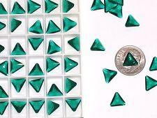 10pc Vintage Crystal SWAROVSKI Triangle lot Rhinestone unfoiled no hole 10mm GRN