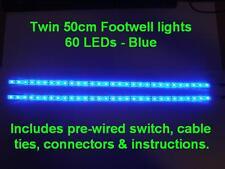 Twin 50cm Blue LED interior footwell lights waterproof & flexible exterior neon