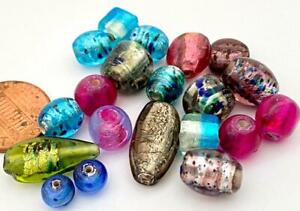 Vintage Foil Glass Lampwork Beads Mix India 20