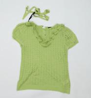 Dorothy Perkins Womens Size 12 Textured Green T-Shirt (Regular)