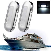 2X 12V White Waterproof 3 LED Courtesy Light Oblong Step/Stair/Deck/Boat/Cabin