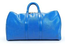 Vintage Louis Vuitton Keepall 45 Blue Epi Leather Duffle Suitcase Travel Bag 288