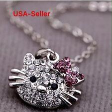 Hello Kitty Cat Pendant Chain Necklace Charm Clear Rhinestone Fashion Jewelry